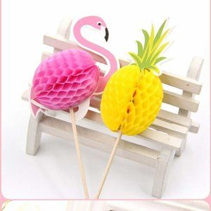 10pc Pineapples Flamingos Cupcake Toppers